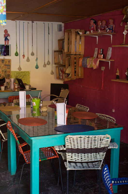 ...however, we do discover a local cafe with charm and a wi-fi connection.