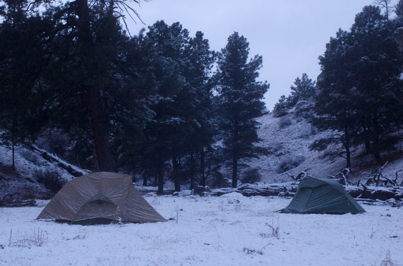 Tents in the snow.